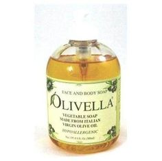 Olivella Liquid Virgin Olive Oil Soap.  No chemiacals, all natural and leaves skin feeling so soft! Love this stuff.