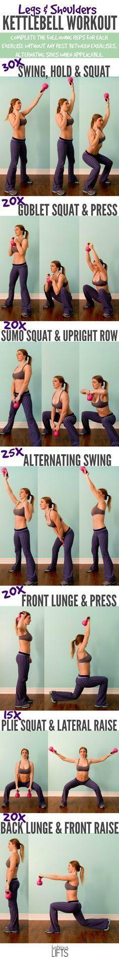 Legs and Shoulders Kettlebell Workout    Lushious Lifts https://www.kettlebellmaniac.com/kettlebell-exercises/ https://www.kettlebellmaniac.com/
