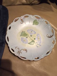Flower Blue Toned Decorative Plate With Gold Trim