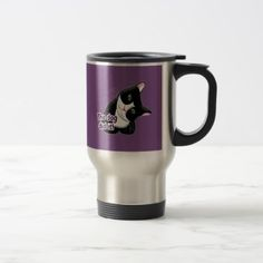 The dog did it Cat Travel Mug - black and white gifts unique special b&w style