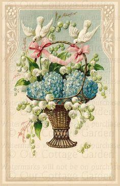 antique  and vintage .victorian cards | Victorian PostCard Basket of FMNs & LOV w DOVES | Our Cottage Garden