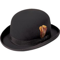 """The Derby is a wool felt hat with a derby crown and a 2 1/8"""" roll brim with binding."""