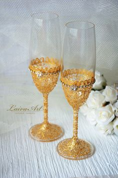 Gold Wedding Champagne Flutes Wedding Champagne Glasses Gatsby Style  - pinned by pin4etsy.com