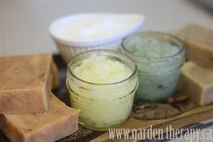 uber-moisturizing, exfoliating sugar scrub recipe that will wake up your skin and your mind with two energizing scent choices: lemongrass/ginger or rosemary/spearmint.