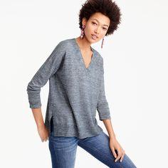 Merino wool-linen V-neck sweater