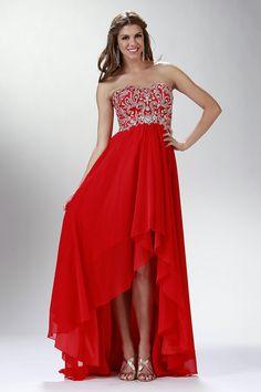 2015 Prom Dress Sweetheart A Line Chiffon Beaded Bodice With High Low Chiffon Skirt