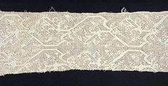 Fragment of Needlework | LACMA Collections, Probably Italy, 16th century Textiles; fragments Linen cutwork embroidery 6 1/2 x 34 in. (16.51 x 86.36 cm) Gift of Miss Beatrice Wood (60.41.70)