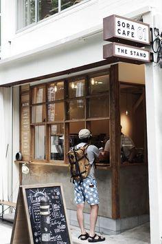 Kaffeeecke (via: Sora Cafe) - Small Coffee Shop, Coffee Store, Coffee To Go, Coffee Shop Design, Coffee Cafe, Coffee Shop Japan, Coffee Break, Coffee Drinks, Cafe Shop