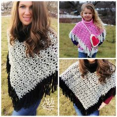 This is a PDF crochet pattern for a soft, bulky, and warm Fringed Lace Poncho! Fringe is everywhere in fashion right now so this is the perfect quick and easy totally FAB pattern to add to your collection!! I've included Preschool, child, adult and large adult size. I've designed this poncho to work up quick!! You'll use chunky yarn with an 8mm hook for preschool and a 9mm hook for child to large adult. I used 2 different yarns in this pattern but any chunky yarn is suitable. I made the…