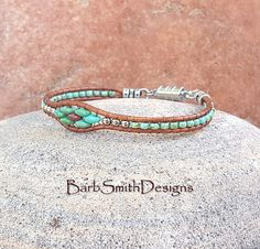 Turquoise Silver Beaded Leather Wrap Bracelet or Anklet The
