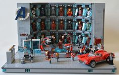 Stark's Lab made out of Lego by John Toulouse (brickstoulouse on Flickr) and featured on BrickNerd.com