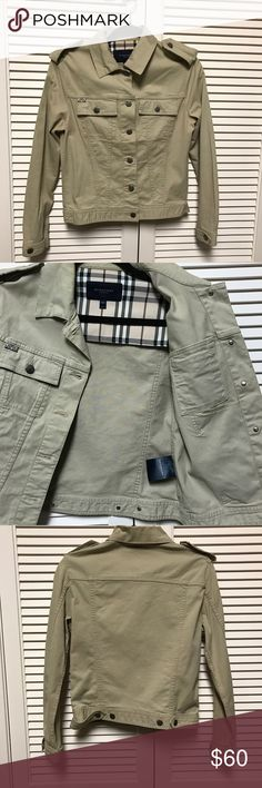 """Burberry Khaki Jacket Excellent used condition. Also has the plaid design inside the cuffs on sleeves- authentic. 18"""" bust and 21"""" long -laying flat measurements. US 6/ UK 8. Reposh -sleeves ended up being too big for me :( Burberry Jackets & Coats"""