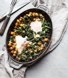 Olive Oil Baked Chickpeas with Eggs, Spinach and Sumac - Half Cup Habit