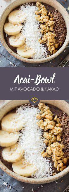 Acai bowl with avocado, bananas and cocoa-Acai-Bowl mit Avocado, Bananen und Kakao Tastes a bit like chocolate mousse. And after banana shake. Maybe even after coconut chocolates – the most delicious way to get up! Breakfast Smoothies, Fruit Smoothies, Breakfast Recipes, Avocado Dessert, Smoothie Bowl, Smoothie Detox, Superfood, Bananas, Açai Bowl