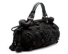 Handmade Black Knit Bag, Celebrity Style,Crochet summer bag