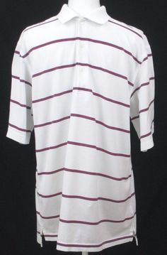 c6233989294d64 Nicklaus Golf Shirt Mens M White Mercerized Cotton Casual Polo Short Sleeves