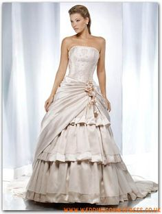 Modest Online Inexpensive Strapless Princess Multilayer Satin Couture Bridal Gown M611