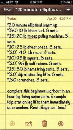 One hour toned body workout for the gym. Progressively add more weight and reps as your abilities progress over the weeks. Start small. Do the activity right the first time.