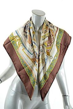 BALLY-Brand-New-100-Silk-Scarf-Brown-Border-w-Beige-Rust-Gray-NICE