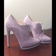 "CASADEI Suede Lace-Up Platform Bootie, Sz.6.5 Luxurious booties made of fine lilac suede leather. Crazy stylish and sexy. Ankle high, with classic lacing. Fashionable .8"" platform and 5.5"" stiletto heel. Material: 100% Suede. Made in Italy. Brand new!! Casadei Shoes Platforms"