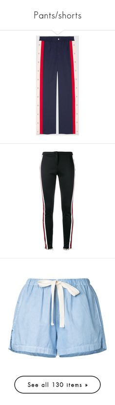 """""""Pants/shorts"""" by kmariefashion ❤ liked on Polyvore featuring pants, bottoms, trousers, pants & shorts, ready to wear, women, gucci pants, blue jogger pants, silk wide leg pants and gucci"""