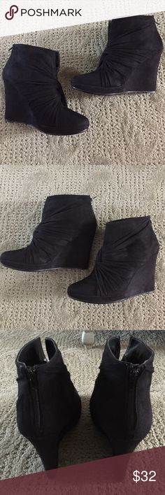 "✨Impo✨Wedge Bootie Black suede-like material. Zip up back. 4 1/2"" heel with 3/4"" front platform. Barely worn, see pic 4 of sole. Impo Shoes Ankle Boots & Booties"