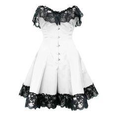 White Corset Dress with Black Flower Lace Trim - Burlesque corsets - Burlesque Costumes Short Corset Dress, White Corset Dress, White Lace Cocktail Dress, Short Cocktail Dress, White Mini Dress, Corset Dresses, Cocktail Dresses, Dress Lace, Black Corset
