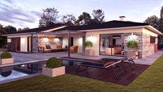 Maison PANAMA - Alpha Constructions | Faire construire sa maison Bungalow Floor Plans, Modern Bungalow House, House Front Design, Modern House Design, Modern Exterior, Exterior Design, Simple House Plans, House Layouts, Future House