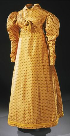 Day Dress: ca. 1820, English, silk brocade (exported from India).