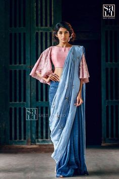 Stylish Blouse Inspirations From Salt Studio Blouse Back Neck Designs, Fancy Blouse Designs, Saree Blouse Designs, Dress Designs, Blouse Patterns, Saree Wearing Styles, Saree Styles, Blouse Styles, Trendy Sarees