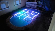 MOD NC-200PESP. Modules specially designed to cover pools, but can be used anytime. Fully transparent, with support frames and sills in aluminum, 12 mm tempered glass, LED perimeter lighting, automatic programs, without control. intelligent LED lighting 27 CH DMX. #led dance floor #lighted floor #smart led #party led #dancefloor light #led floor #led events #pistas iluminadas #pista de baile led #pistas luminosas #ness pistas #ness technology Led Dance, Light Led, Flooring, Outdoor Ideas, Platforms, Glass, Design, Home Decor, Beauty