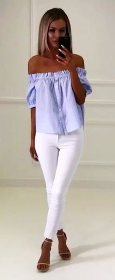#spring #outfits Blue Off The Shoulder Blouse + White Skinny Jeans