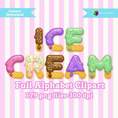 ICE CREAM - Full Alphabet Clipart - 179 png files 300 dpi 3.5 inches - For…