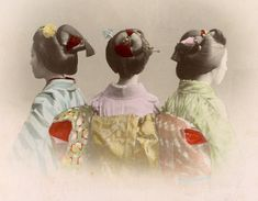 https://flic.kr/p/acgiD1   Three Maiko Girls from Behind 1880s   This is a large-format, photographic version of a postcard I posted earlier.  www.flickr.com/photos/blue_ruin_1/5391339693/  I decided to post this version because it shows much greater detail and it uses different colours. This version very much has the look and feel of a watercolour painting.
