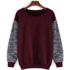 Round Neck Contrast Sleeve Loose Red Sweatshirt