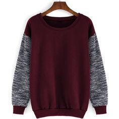 Round Neck Contrast Sleeve Loose Red Sweatshirt