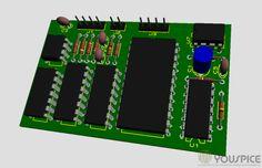 PCB board 3d view - YouSpice.com