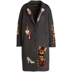 Dolce & Gabbana Whimsical-Embellished Cashmere-Blend Coat (598.910 RUB) ❤ liked on Polyvore featuring outerwear, coats, jackets, coats & jackets, oversized coat, gray coat, long sleeve coat, grey oversized coat and embroidered coats