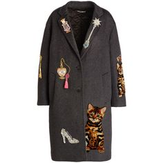 Dolce & Gabbana Whimsical-Embellished Cashmere-Blend Coat ($9,330) ❤ liked on Polyvore featuring outerwear, coats, jackets, coats & jackets, gray coat, cashmere blend coat, dolce gabbana coat, long sleeve coat and embroidered coat