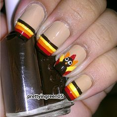 I am unfolding before you 12 + easy & cute Thanksgiving nail art designs, ideas, trends & stickers of 2014 I am sure you will love the collection. Thanksgiving Nail Designs, Holiday Nail Designs, Thanksgiving Nails, Holiday Nail Art, Fall Nail Art, Fall Nails, Thanksgiving Turkey, Happy Thanksgiving, Cute Nails