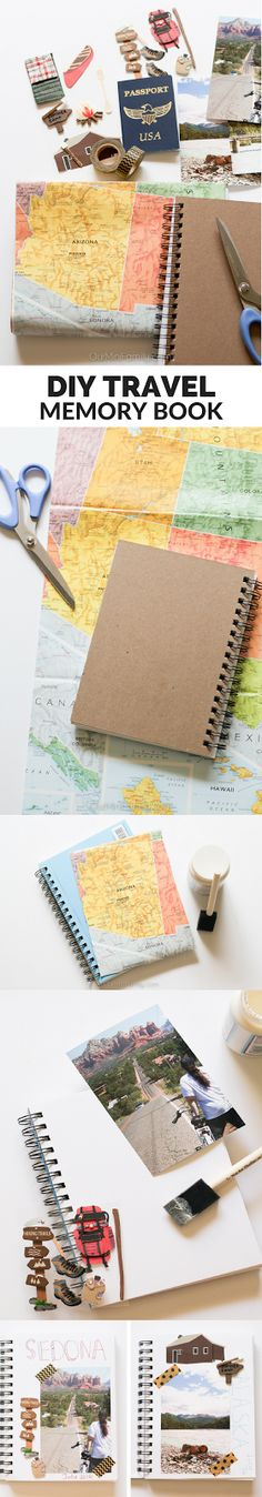 Create this easy, DIY travel memory book to document all of your adventures! Using simple and every day scrapbooking tools, this tutorial shows you how easy a cute and shabby chic travel journal can b (Easy Diy Crafts) New Travel, Packing Tips For Travel, Travel Essentials, Travel Usa, Texas Travel, Travel Checklist, Family Travel, Smash Book, Ideias Diy