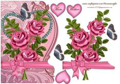 Roses for Mother on Craftsuprint designed by Marijke Kok - Beautiful design, over the side, with roses,heart,and a lovely bow,for Mother... - Now available for download!