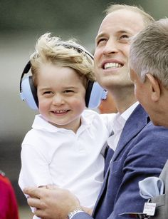 Prince William and Prince George at the airshow, July 2016.                                                                                                                                                      More