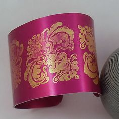 Burgundy and Gold Damask Anodised Aluminium Cuff