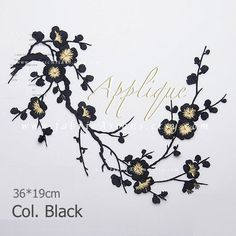 Cherry Blossom Embroidered Applique.  Black flowers patch