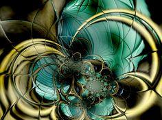 Metal Gold Teal Glass