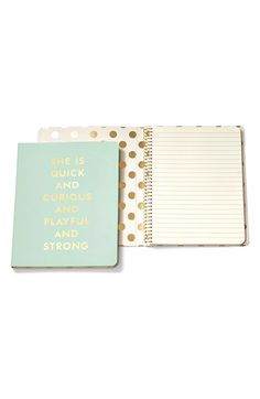 Free shipping and returns on kate spade new york 'she is quick and curious' spiral notebook at Nordstrom.com. Lists, letters and innermost thoughts have a home in this inspiring spiral notebook that opens to reveal a gold-foiled version of kate spade's signature dots.