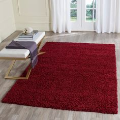 Athens Shag Red 5 ft. 1 in. x 7 ft. 6 in. Area Rug