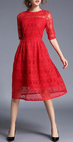 [ad] The Red A-Line Sheer Sleeve Lace Midi Dress if perfect for your holiday party, and you can wear it all year long!