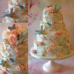 Summer pastels wedding cake